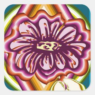 Fleur pourpre avec des formes géométriques sticker carré