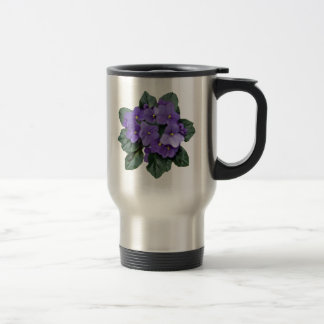Fleur pourpre de jardin de violette africaine mug de voyage