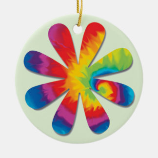 Fleur psychédélique ornement rond en céramique