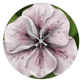 Fleur romantique de rose et de vin grande horloge ronde