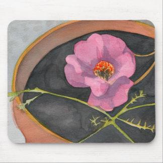 Fleur rose dans le pot Mousepad de terre cuite Tapis De Souris