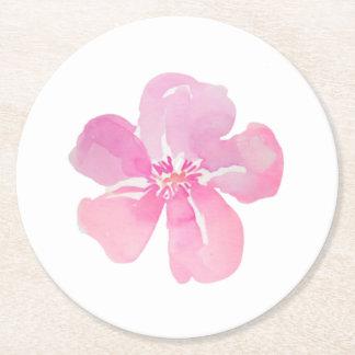 Fleur rose d'aquarelle dessous-de-verre rond en papier