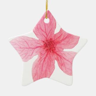 fleur rose d'aquarelle ornement étoile en céramique