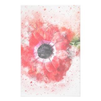 Fleur rose d'aquarelle papeterie