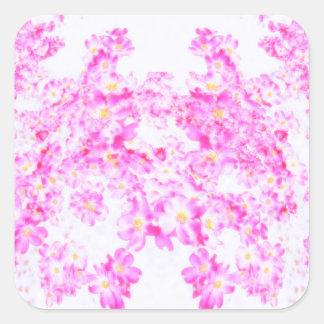Fleur rose de cornouiller sticker carré