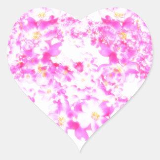 Fleur rose de cornouiller sticker cœur