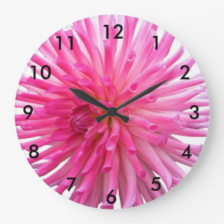 Fleur rose de dahlia de cactus grande horloge ronde