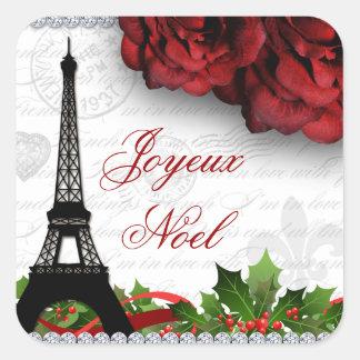 Fleur rose de zèbre de Tour Eiffel de Paris de Sticker Carré