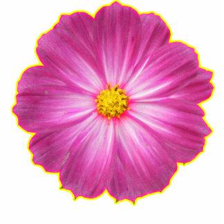 fleur rose et jaune découpage en acrylique