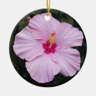 Fleur rose ornement rond en céramique