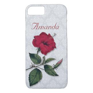 Fleur rouge foncé simple de ketmie coque iPhone 8/7