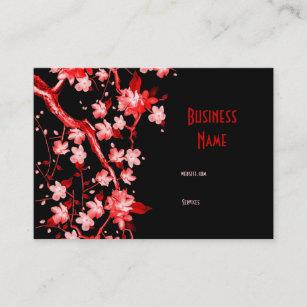 Fleur Rouge Japonaise Asiatique De Carte Visite