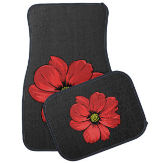 Fleur rouge tapis de voiture