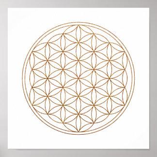 Fleur sacrée de la géométrie de la vie (V-Henné) Poster