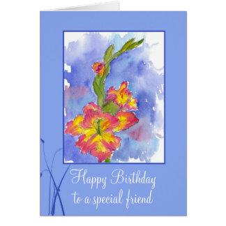 Fleur spéciale de glaïeul d'ami de joyeux cartes