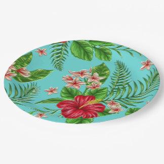 Fleur tropicale de corail mignonne de ketmie sur assiettes en papier