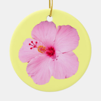 Fleur tropicale de ketmie rose ornement rond en céramique