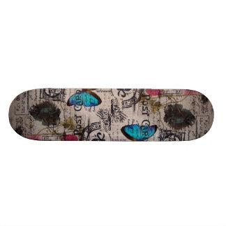 Fleur vintage artistique Paris de pavot de cachet  Skateboards Personnalisables