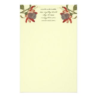 Fleur vintage de passion papier à lettre customisé