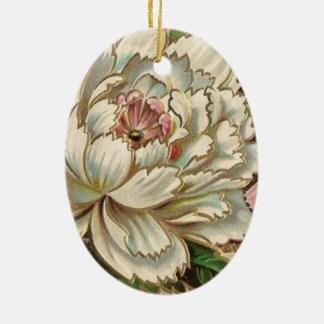 Fleur vintage de pivoine ornement ovale en céramique