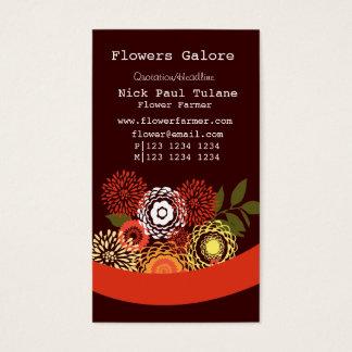 Fleuriste floral de fleurs d'été élégant cartes de visite