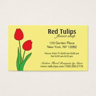 Fleuriste rouge de tulipes cartes de visite