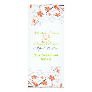 Fleurit la carte orange de menu de mariage de vert carton d'invitation  10,16 cm x 23,49 cm
