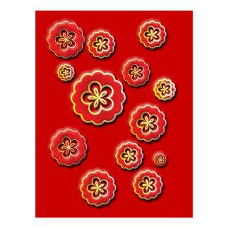 fleurs 3D jaunes rouges Cartes Postales