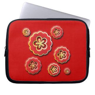 fleurs 3D jaunes rouges Housse Ordinateur Portable
