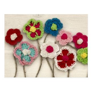 fleurs à crochet colorées carte postale