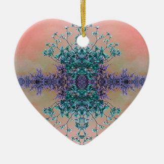 Fleurs abstraites artistiques assez en pastel de ornement cœur en céramique