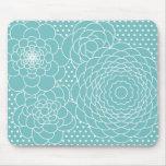 Fleurs abstraites modernes florales bleues tapis de souris