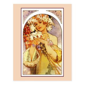 Fleurs, art Nouveau Alphonse Alfons Mucha Cartes Postales