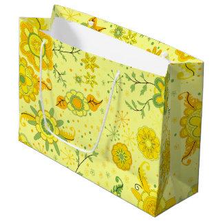 Fleurs assez jaunes grand sac cadeau