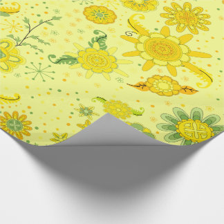 Fleurs assez jaunes papier cadeau