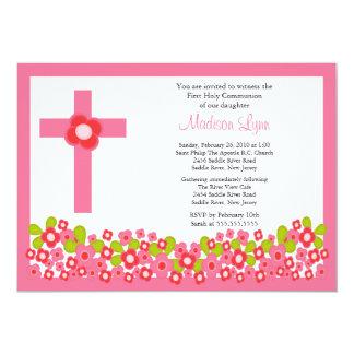 Fleurs assez roses et sainte communion de croix carton d'invitation  12,7 cm x 17,78 cm