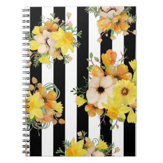 Fleurs audacieuses de jaune de conception florale carnet