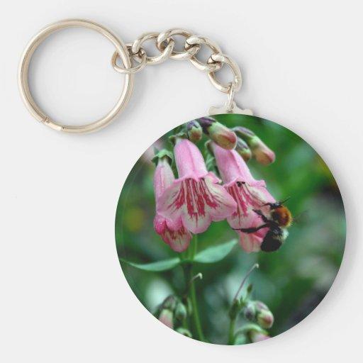Fleurs avec des abeilles porte-clés