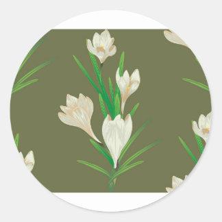 Fleurs blanches 2 de crocus sticker rond