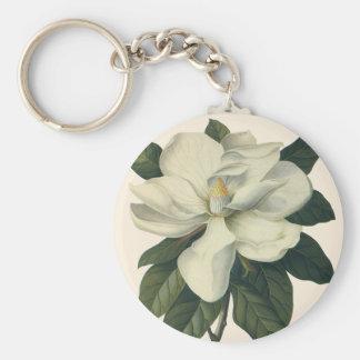 Fleurs blanches de floraison de fleur de magnolia porte-clés