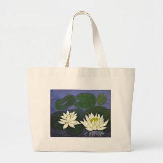 Fleurs blanches de nénuphar, peinture acrylique grand sac