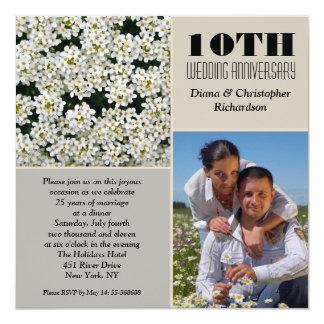 fleurs blanches élégantes 10 invitations de photo
