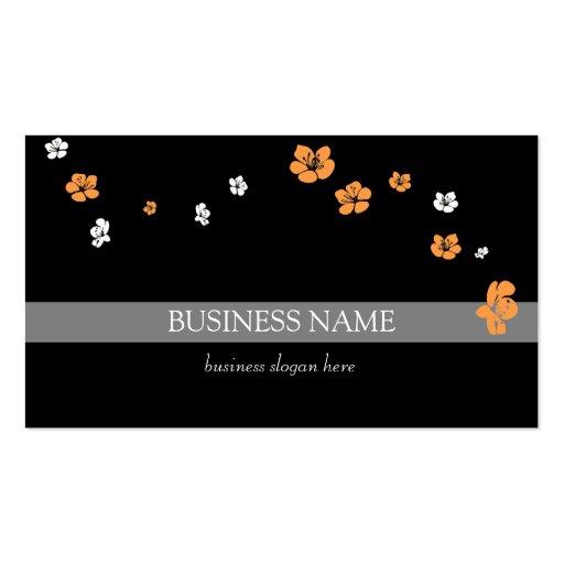 Fleurs blanches oranges élégantes modèle de carte de visite