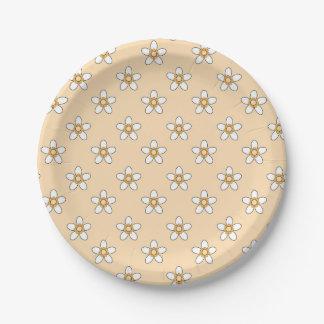 """fleurs blanches sur le champ jaune 9"""" plaque à assiettes en papier"""