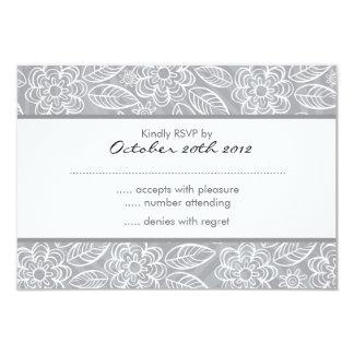 fleurs blanches sur le motif gris RSVP Carton D'invitation 8,89 Cm X 12,70 Cm