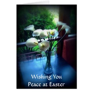 Fleurs blanches sur le Tableau bleu avec votre Carte De Vœux