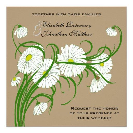 Fleurs blanches vintages de marguerite de Gerber é Faire-part Personnalisé