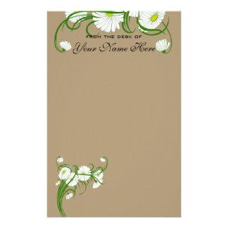 Fleurs blanches vintages de marguerite de Gerber Papier À Lettre Personnalisé
