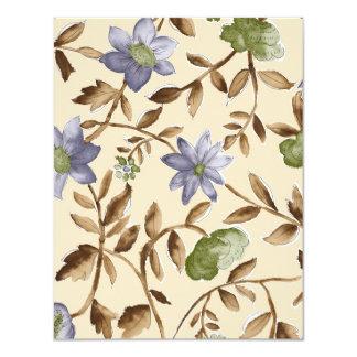 Fleurs bleues antiques carton d'invitation 10,79 cm x 13,97 cm