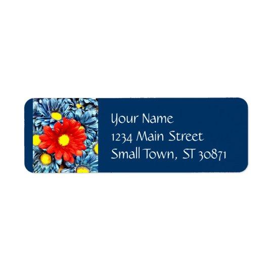 Fleurs bleues colorées de marguerites de Gerber de Étiquette D'adresse Retour